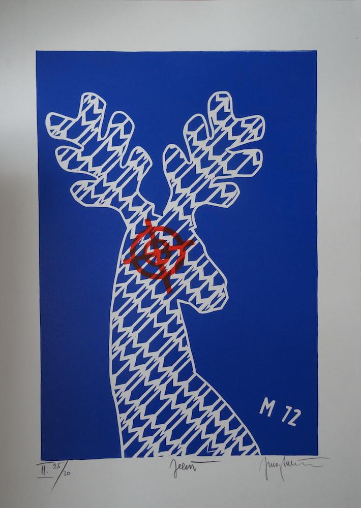 1972, Jeleň, linorez, číslo II 25/30, 70 x 50 cm