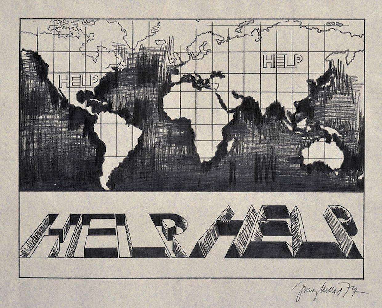 1974, Help, kresba ceruzou na papieri, 51 x 65 cm