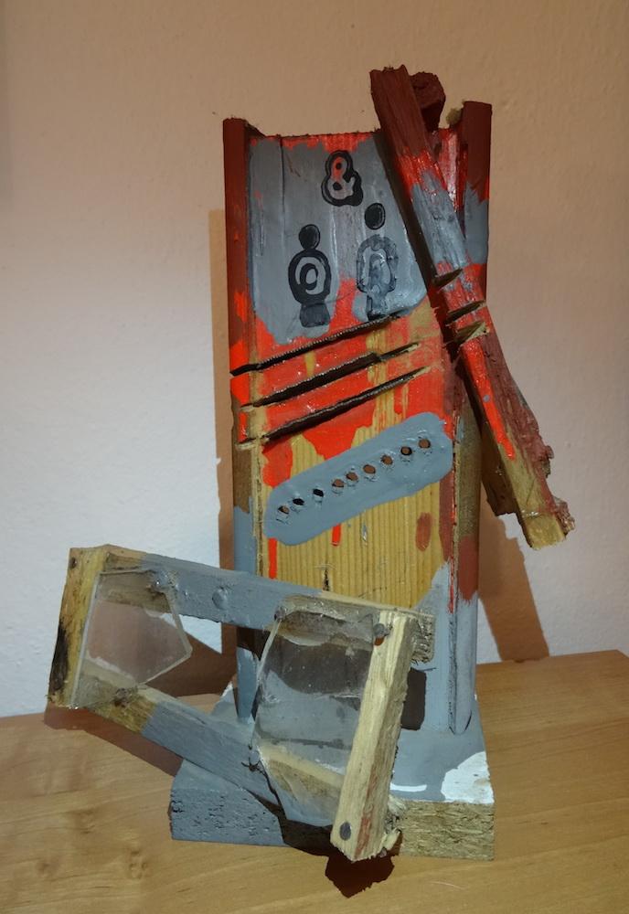 2000 - 02, Lejdýs & Džentlmens, drevo, kov, sklo,20x14x22 cm