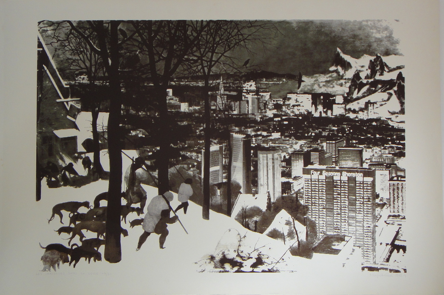 1978, Les chasseurs la neige, Argillia, serigrafia, číslo 4/20, 64x94,5