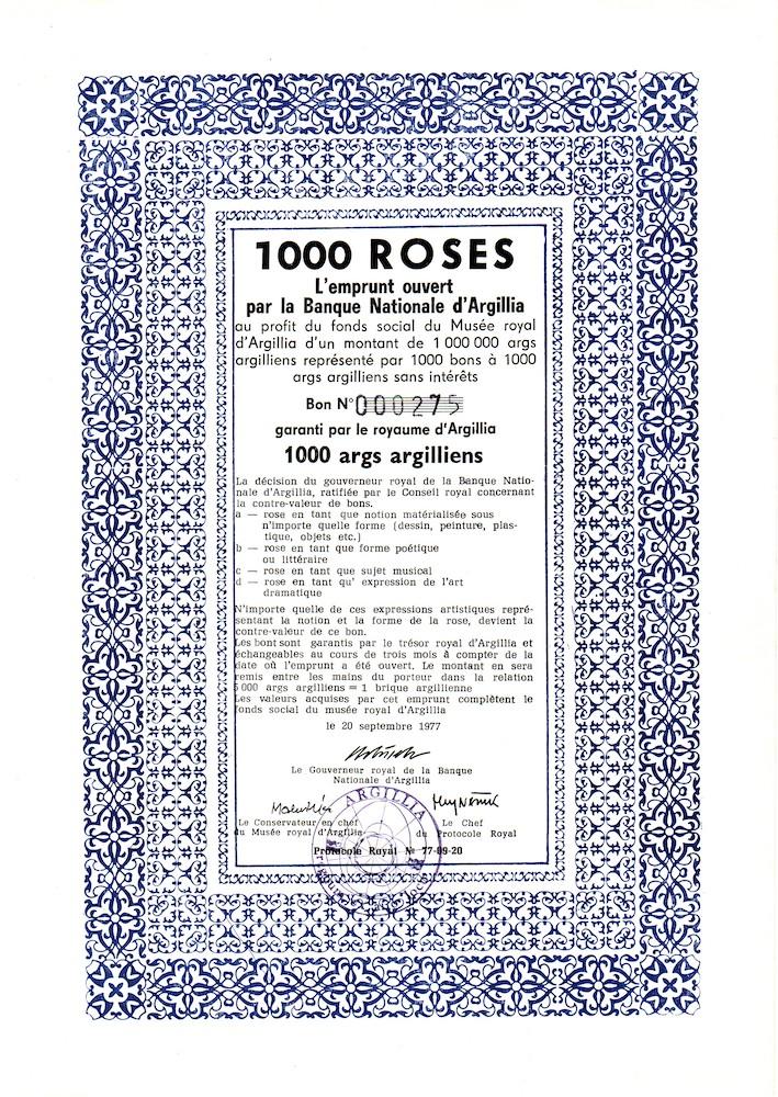 1977, Argillia, 1000 roses, emisia cenných papierov, tlač, 29,5x21 cm, s M. Urbáskom a P. Restanym