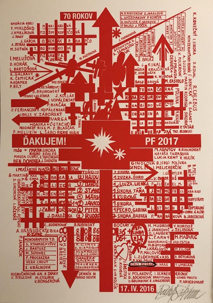 2016, Ďakujem, PF 2017, serigrafia, 40x30 cm