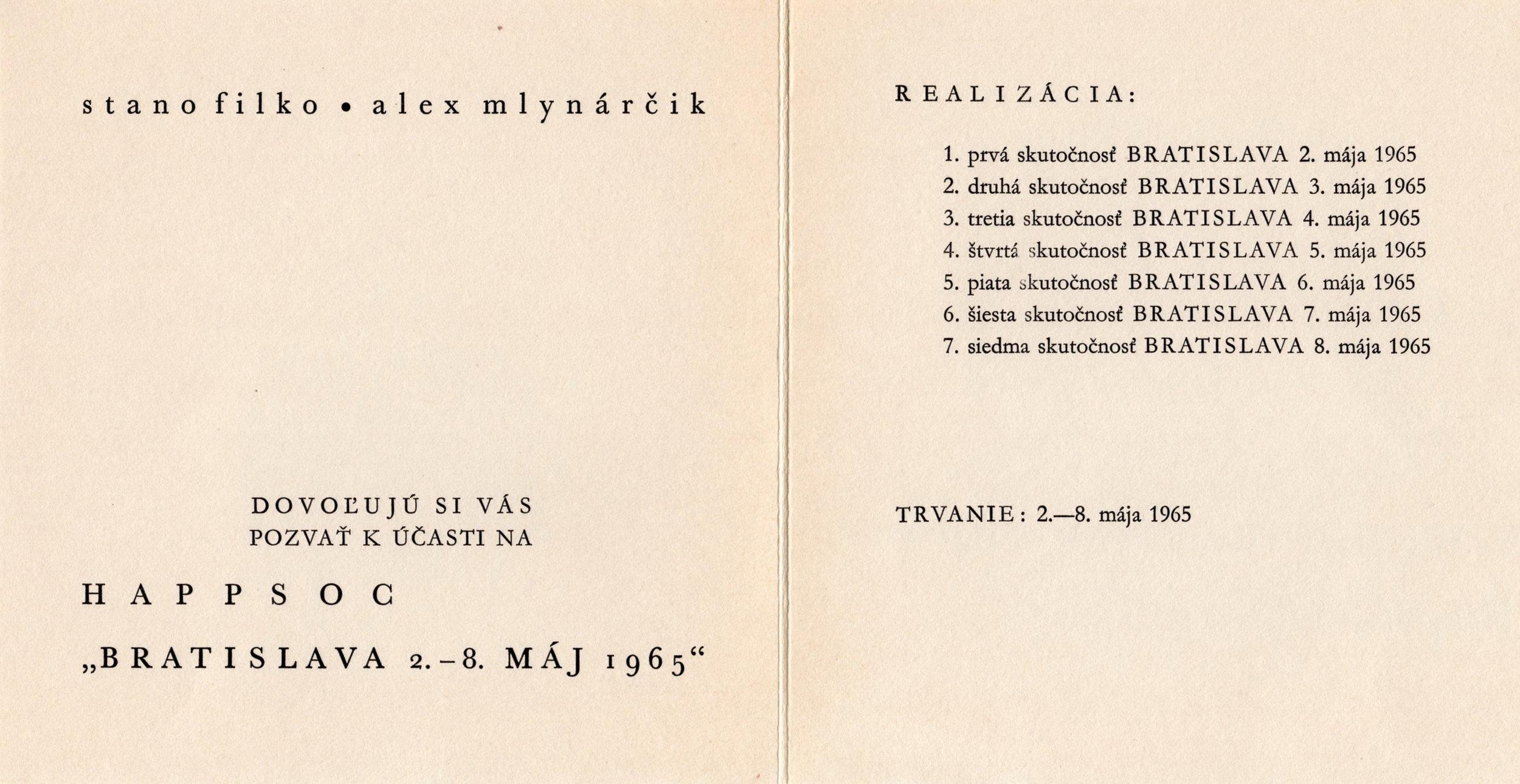 Filko Stano, Mlynárčik Alex, Kostrová Zita, 1965, Happsoc I, Tlač na papieri, 15x30, z pozostalosti francúzskeho teoretika Raoul-Jean Moulina.jpg