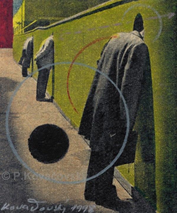 Re_ interpretacie, 1997, kresba na potlačenom papieri