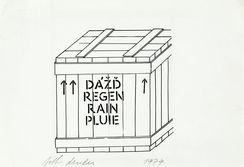 1974, Dážď, kresba perom, 12,5 x 12 cm