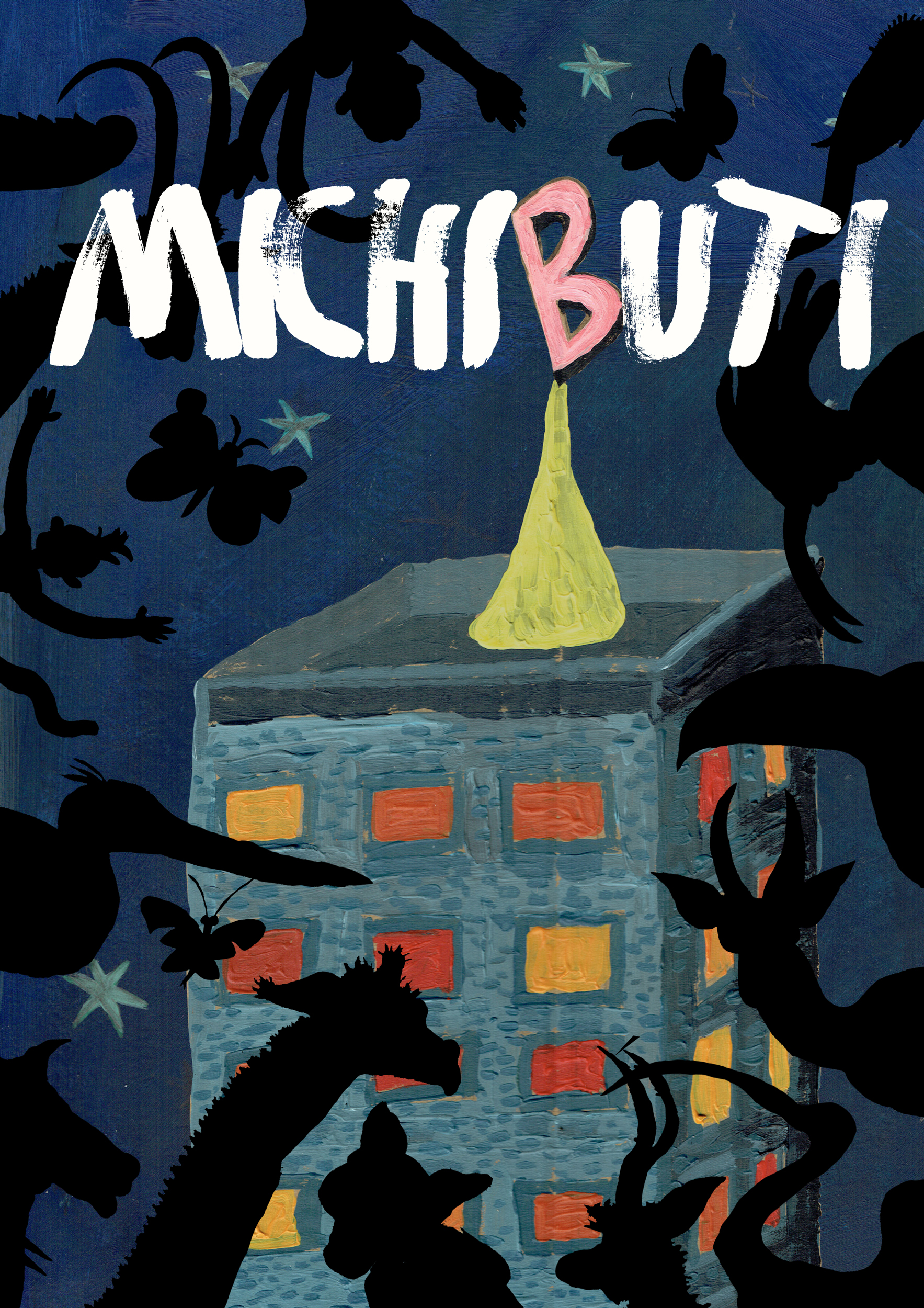 The front cover of  Michibuti  shows Blobfish Tower - that's why there's a big pink B at the top.
