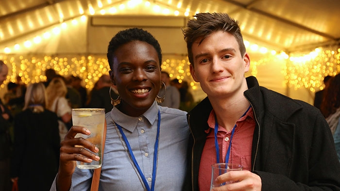 Nia and Eoin (another Innovation Award winner) at a Bath SETsquared business hub launch party