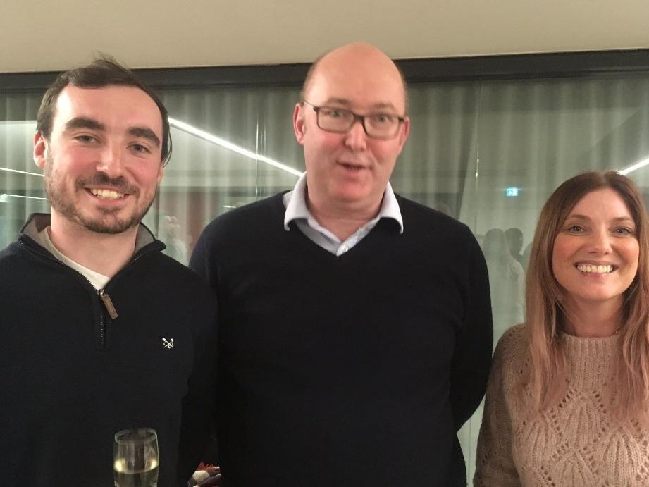 Business PlanCompetition Final - Winner Matt Southworth, finalist Zoe Jeffrey with Deloitte's Jon O'Mahoney