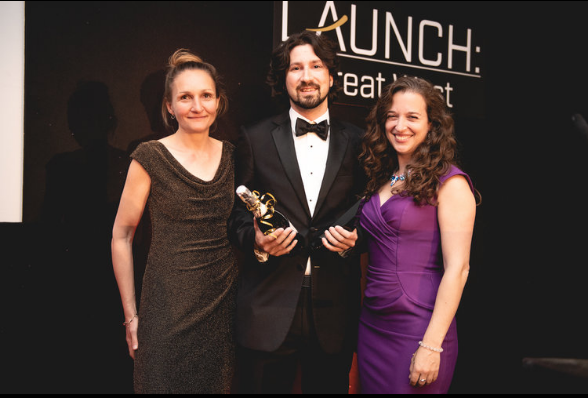 Ultrahaptics, winners of the Rocket Fuel Award, sponsored by University of Bath and SETsquared Bath.  Rosie Bennett (SETsquared Bath), Rob Blenkinsopp (Ultrahaptics), Dr Emily Grossman (host)