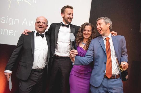 Ceryx Medical winners of the BioDesign Award.  Prof. Imre Berger (University of Bristol), Dr Stuart Plant (Ceryx Medical), Dr Emily Grossman (host), Andrew Wilson (Ceryx Medical)