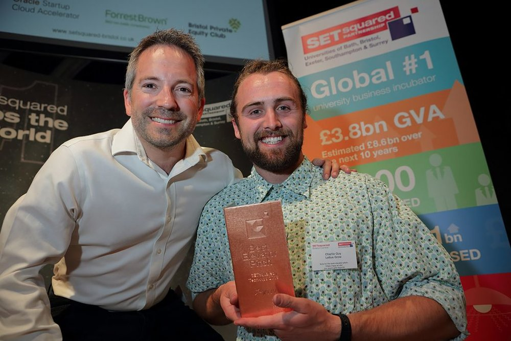 LETTUS GROW SCOOPED THE TOP PRIZE OF 'BEST ELEVATOR PITCH' 2018 AT SETSQUARED BRISTOL'S ANNUAL TECH-XPO - JUST ONE OF THE MANY AWARDS RECEIVED TO DATE