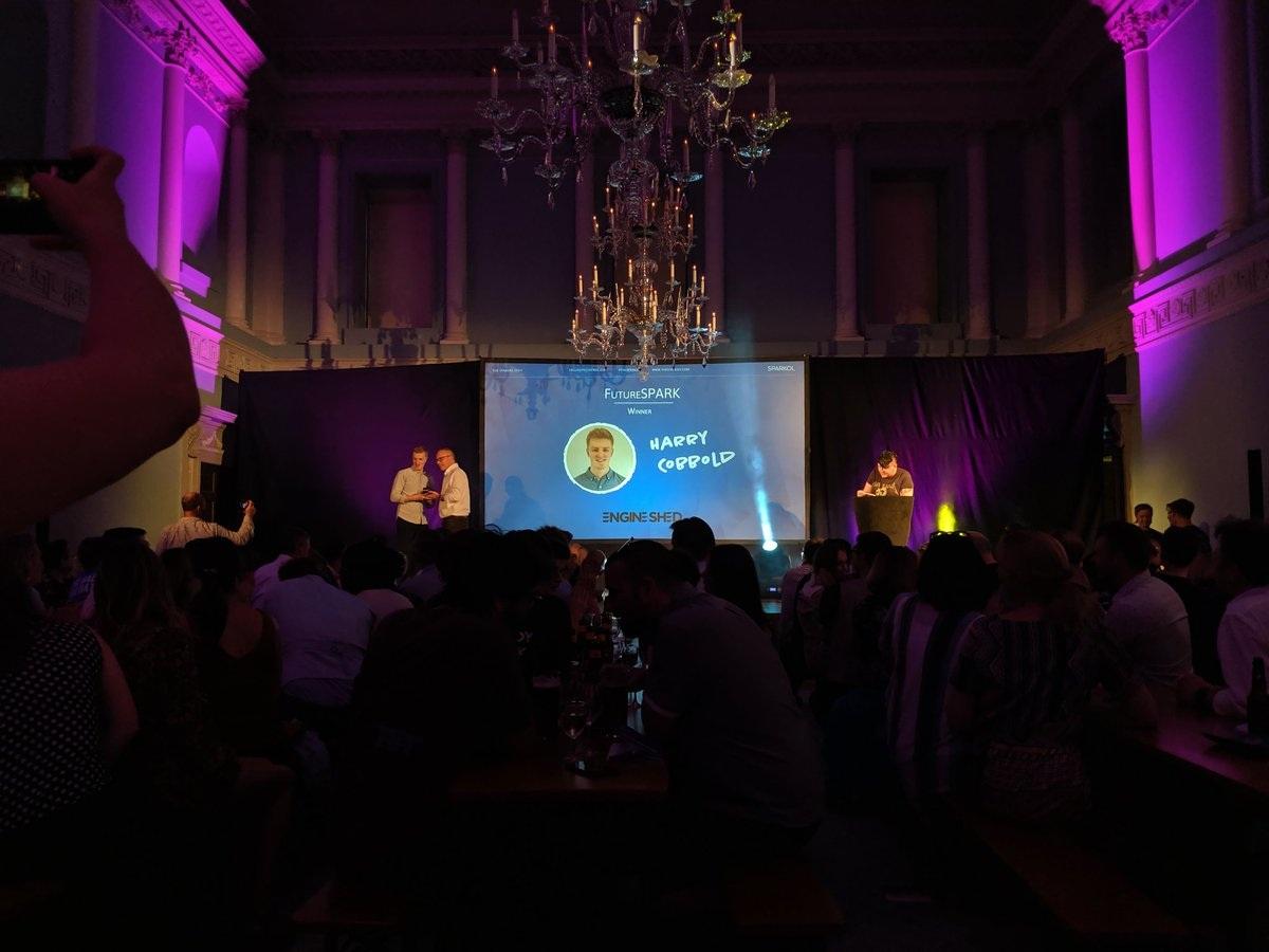 Harry Cobbold receiving the FutureSPARK award at SPARKies 2019