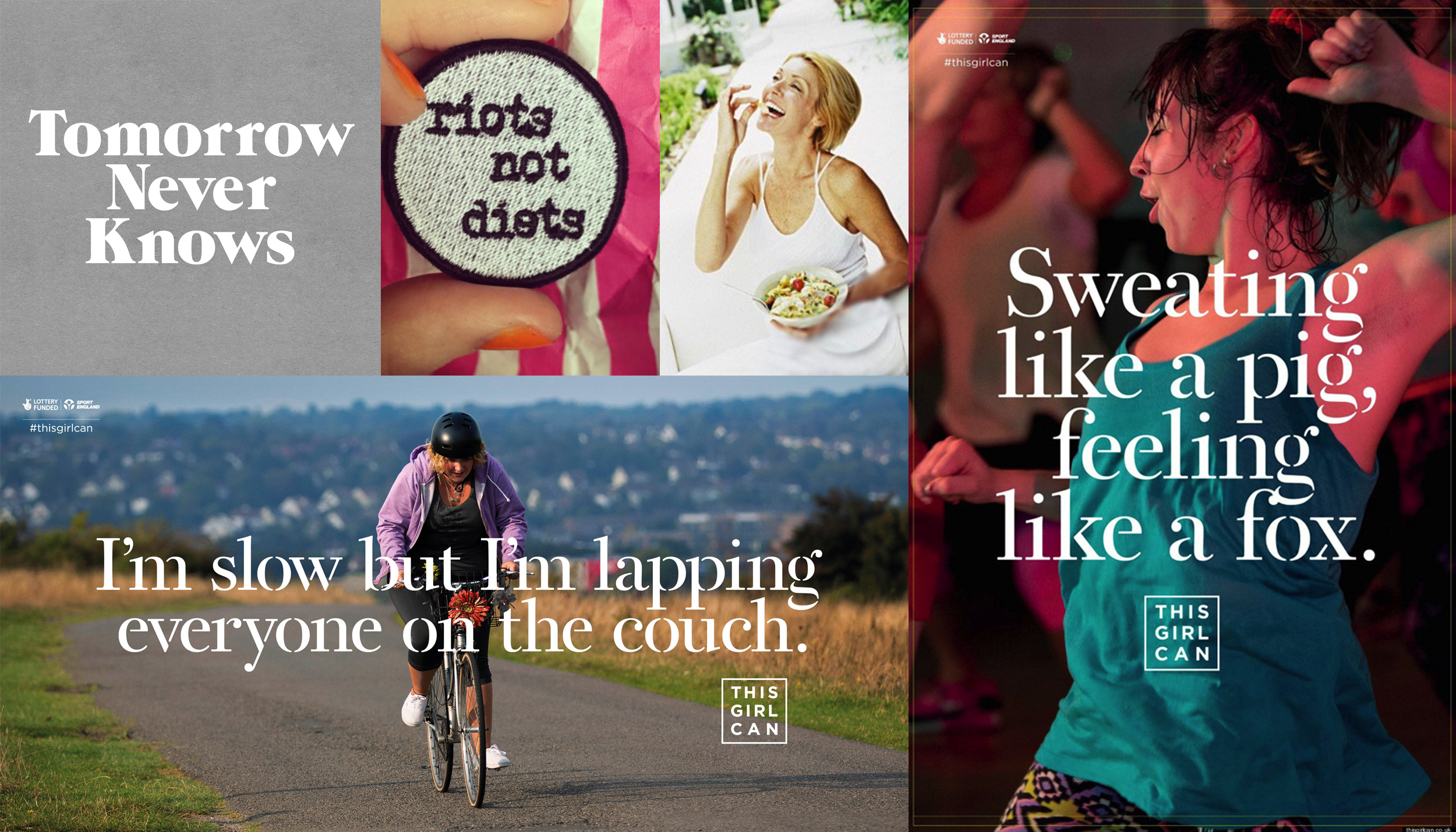 Image credits (clockwise from top left):  @3Dperson  //    halfstitchembroidery  //  Women Laughing Alone With Salad  //  Sport England  //