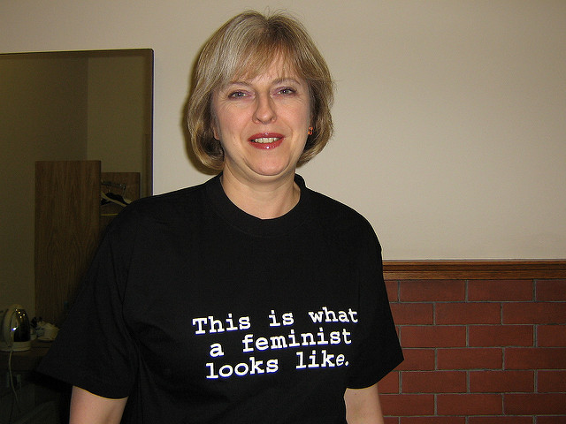 Theresa May in  the Fawcett Society's 'This is what a feminist looks like'  t-shirt.
