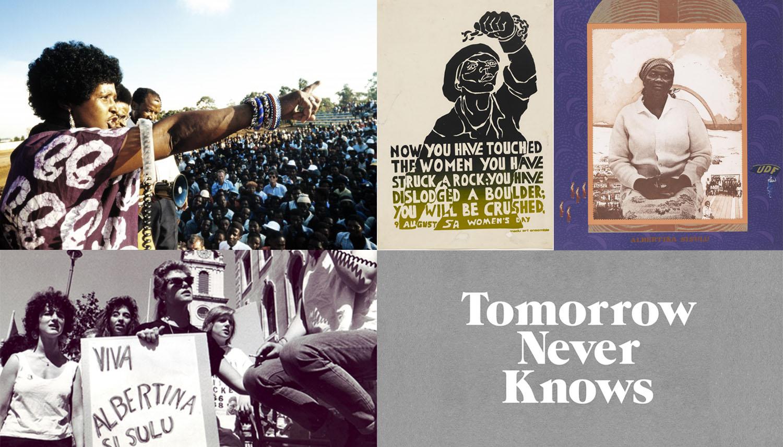 Image credits (CW): Winnie Madikizela-Mandela in Kagiso township 13 April 1986 by  Gideon Mendel  //  'You Have Struck a Rock' Judy Seidman for Medu Art Ensemble (1981)  //  Albertina Sisulu by Sue Williamson (1984)  //  @3Dperson  //  Five City Group women celebrate SA Women's Day 1988 by Jon Kempster