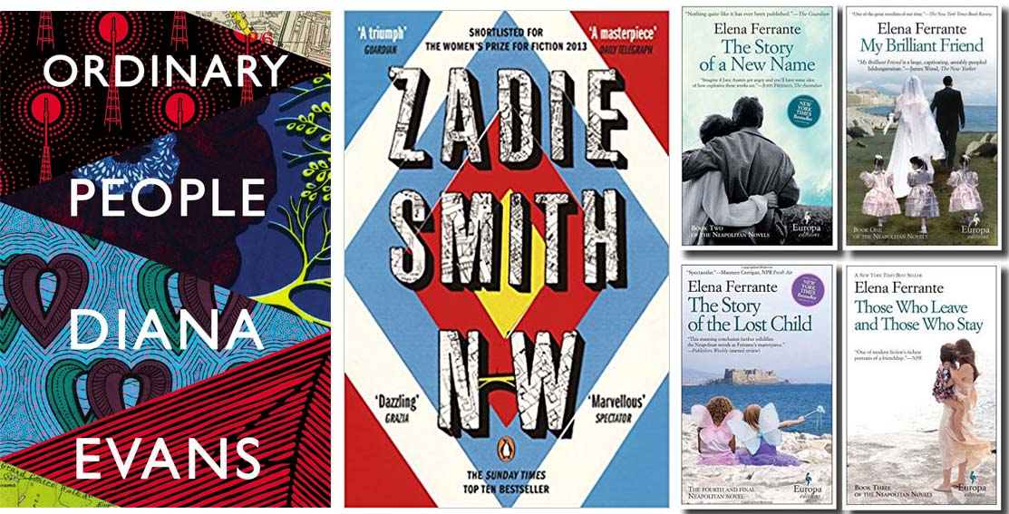 Compare and contrast the covers of Diana Evans'  Ordinary People  (2018), Zadie Smith's  NW  (2012) and Elena Ferrante's Neapolitan novels:  My Brilliant Friend  (2012),  The Story of a New Name  (2013),  Those Who Leave and Those Who Stay  (2014), and  The Story of the Lost Child  (2015).