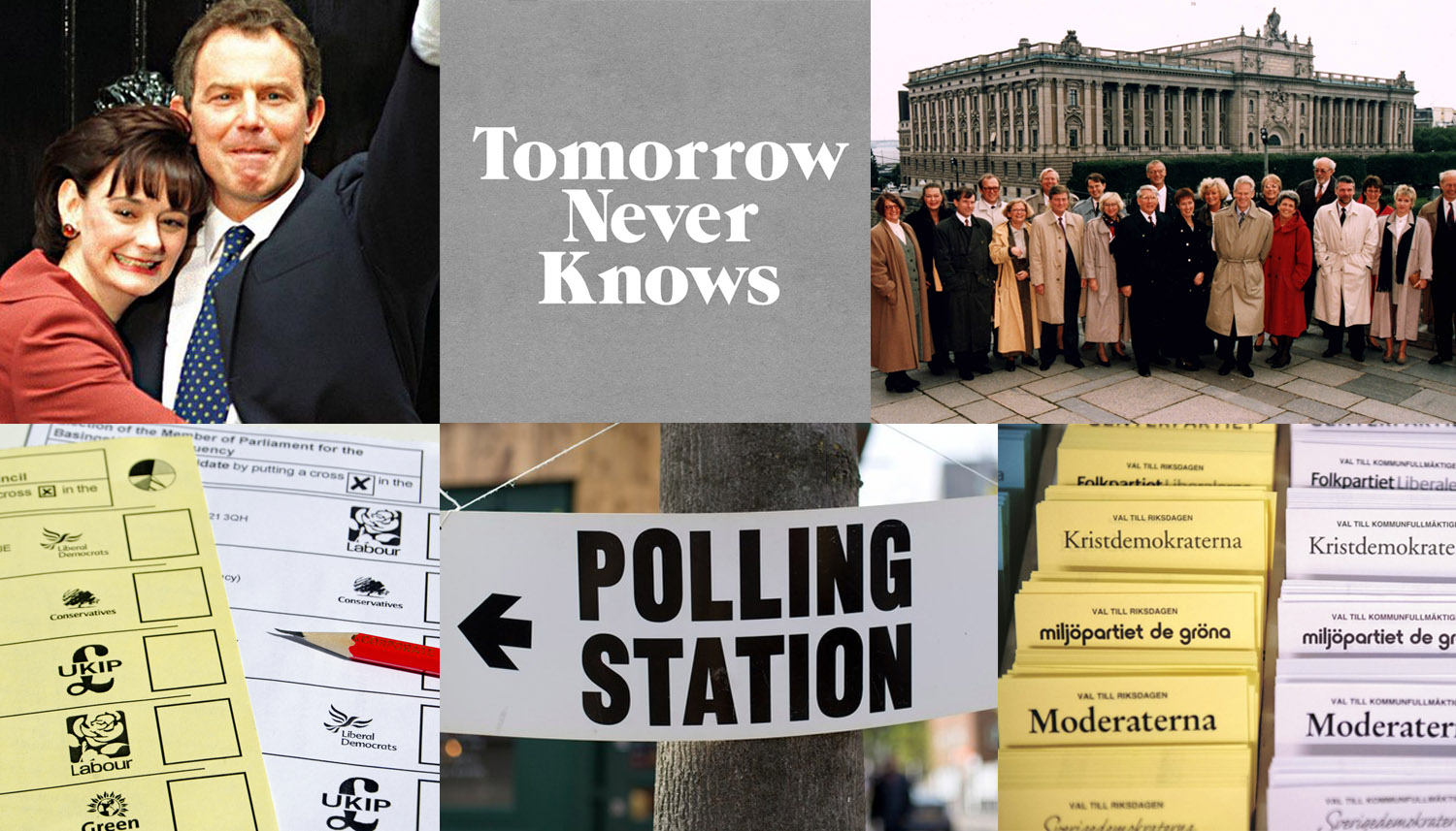 Images (CW): Tony and Cherie Blair in front of 10 Downing Street //  logo by @3Dperson  // Ingvar Carlsson's gender equal 1994 government // Swedish election ballots // polling station signage // British election ballots