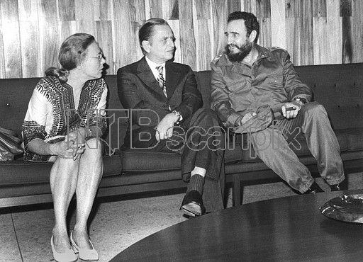 Anna-Greta Leijon, Olof Palme and Fidel Castro - Havana, 1975