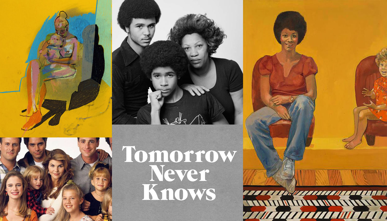 Image credits (CW): drawing by    Hester Finch    // Toni Morrison with her sons, 1978 //    Eva the Babysitter by Emma Amos    (1973) // Logo by 3Dperson // Lori Laughlin with the cast of Full House
