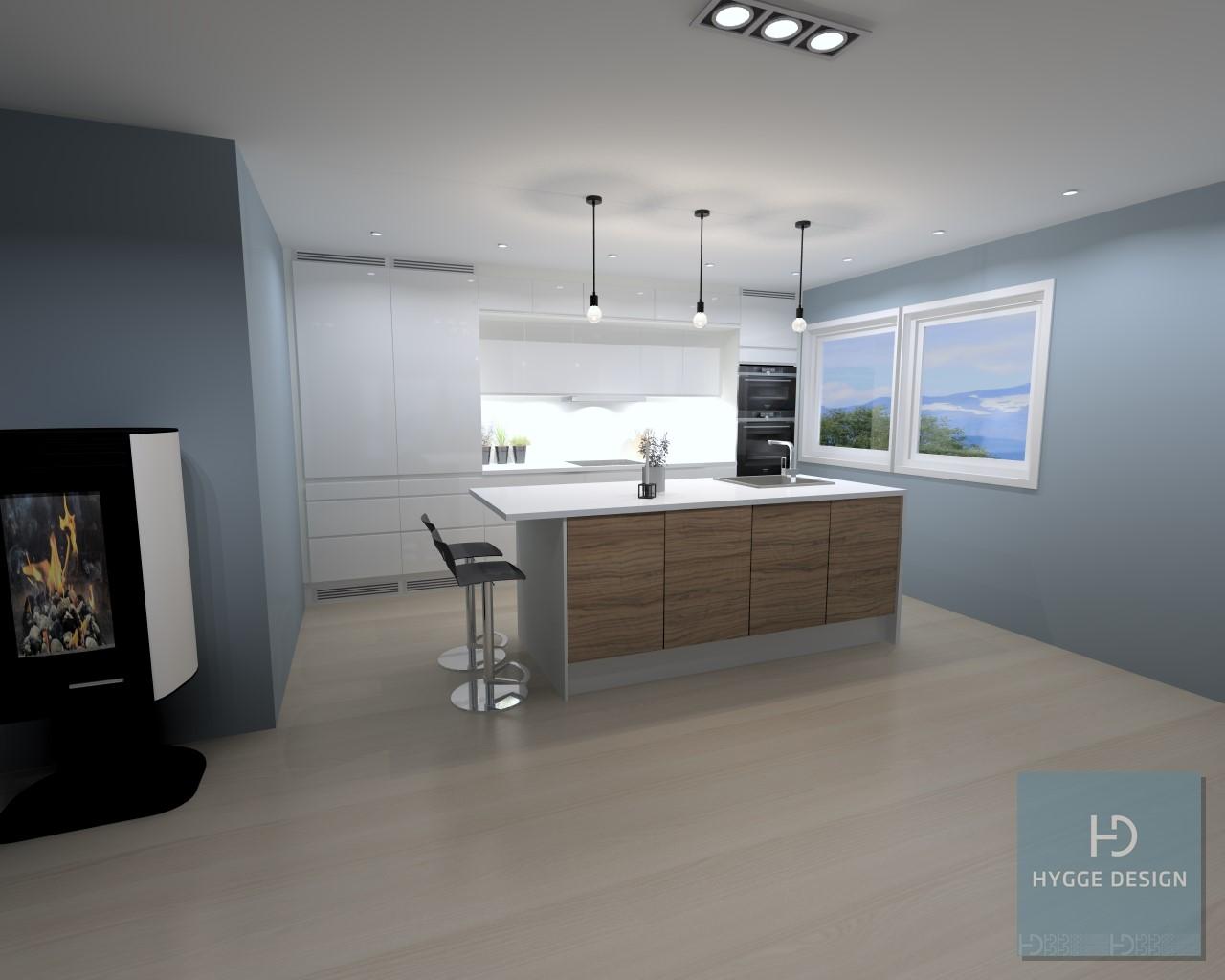 Fotorealistisk teikning av kjøkkenet.