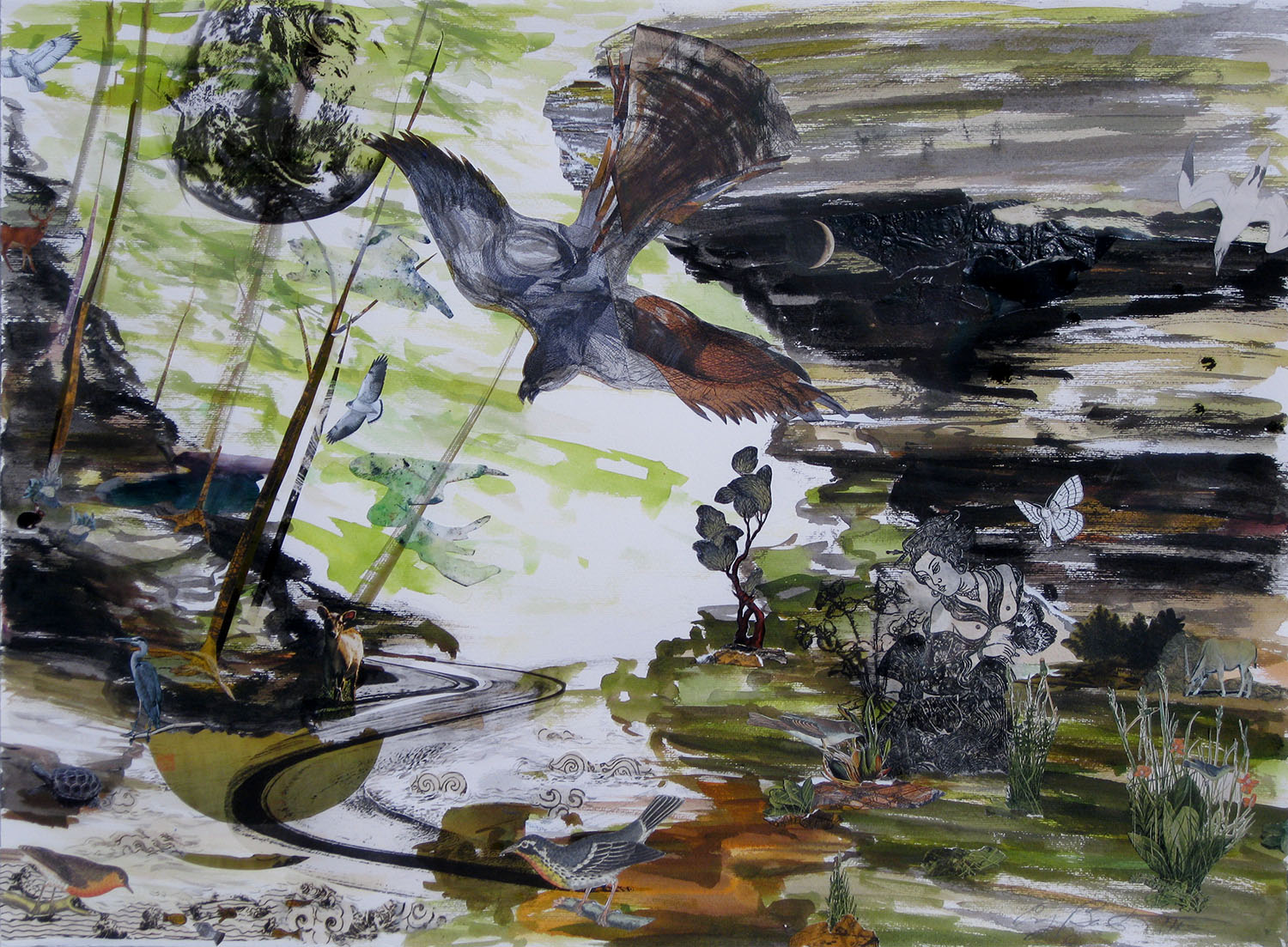 The Landscape is Dreaming, 2011, Etching, Ink, Gouache, Acetate, Found Paper, 22 x 30