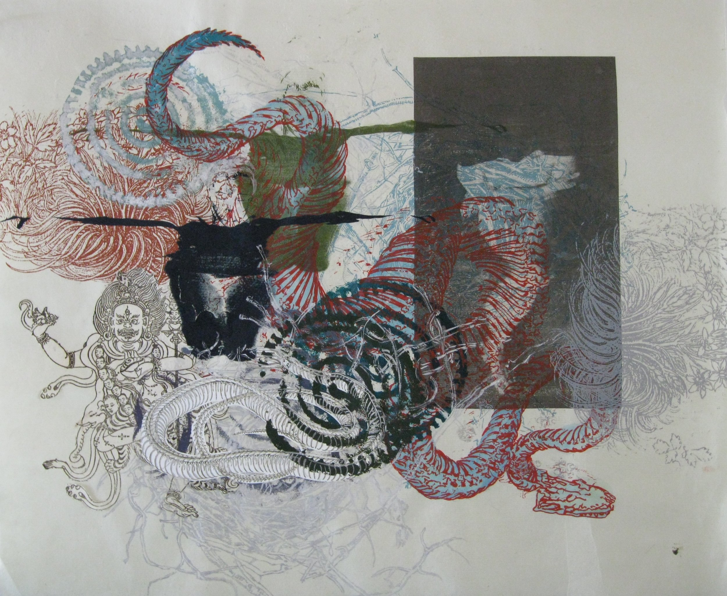 Snakedance 1, 2015, Silkscreen, Cyanotype, Found Paper, Hand Drawing,  24 x 19