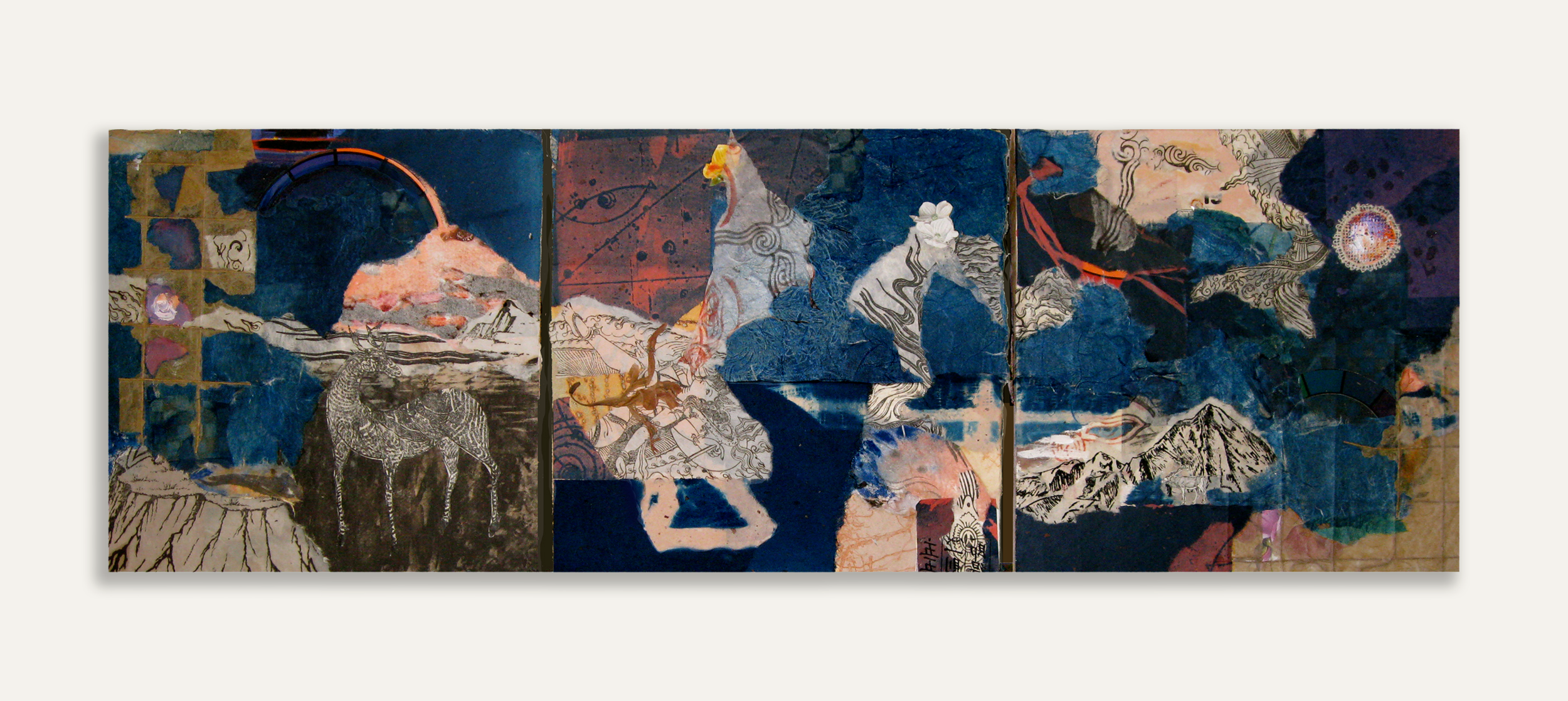 Space-Time Interval, 2016, Triptych on Board with Cyanotype, Found Paper, Paint, 12 x 36