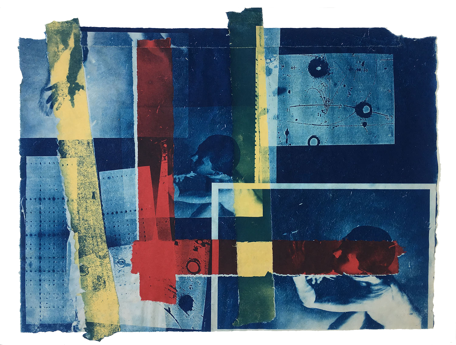 Homage a Piet, 1997, Cyanotype with Chine Colle, 19 x 26
