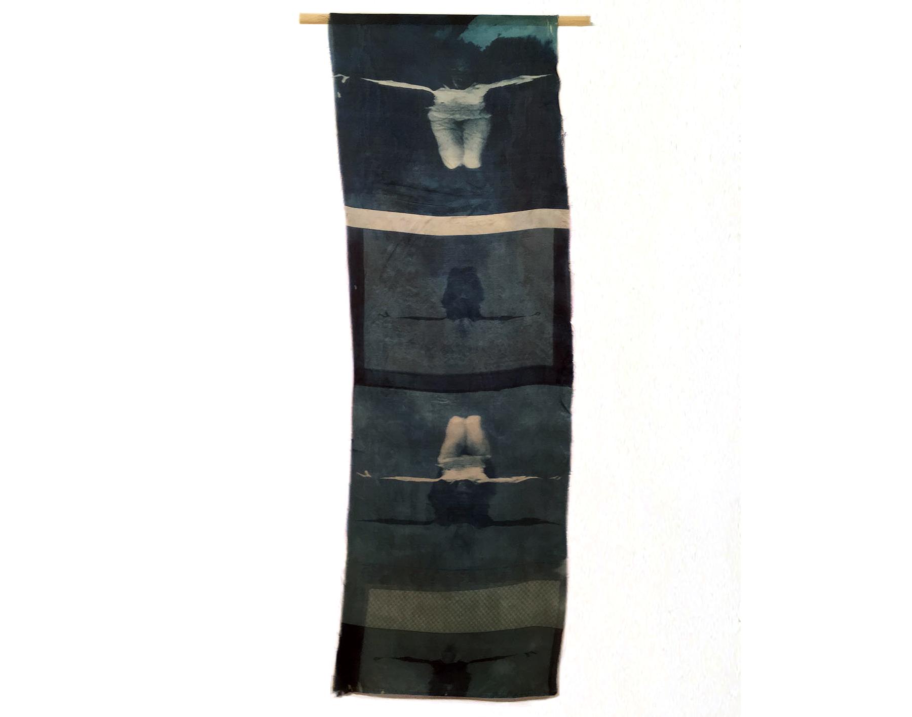 Woman/Water I, 1996, Cyanotype on Silk, 12 x 35