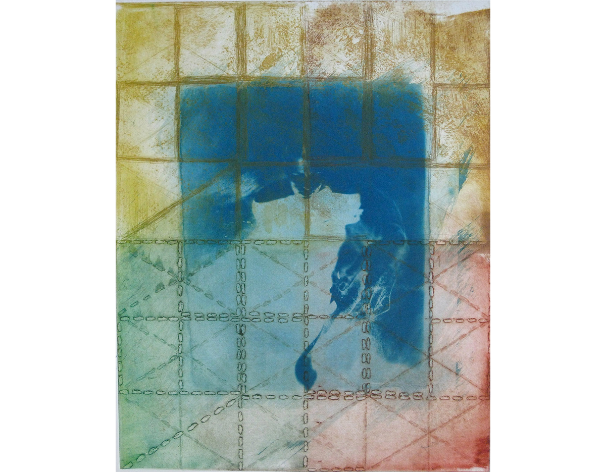 Figure in Grid, 1996, Etching, Monotype and Cyanotype on Paper, 22 x 18