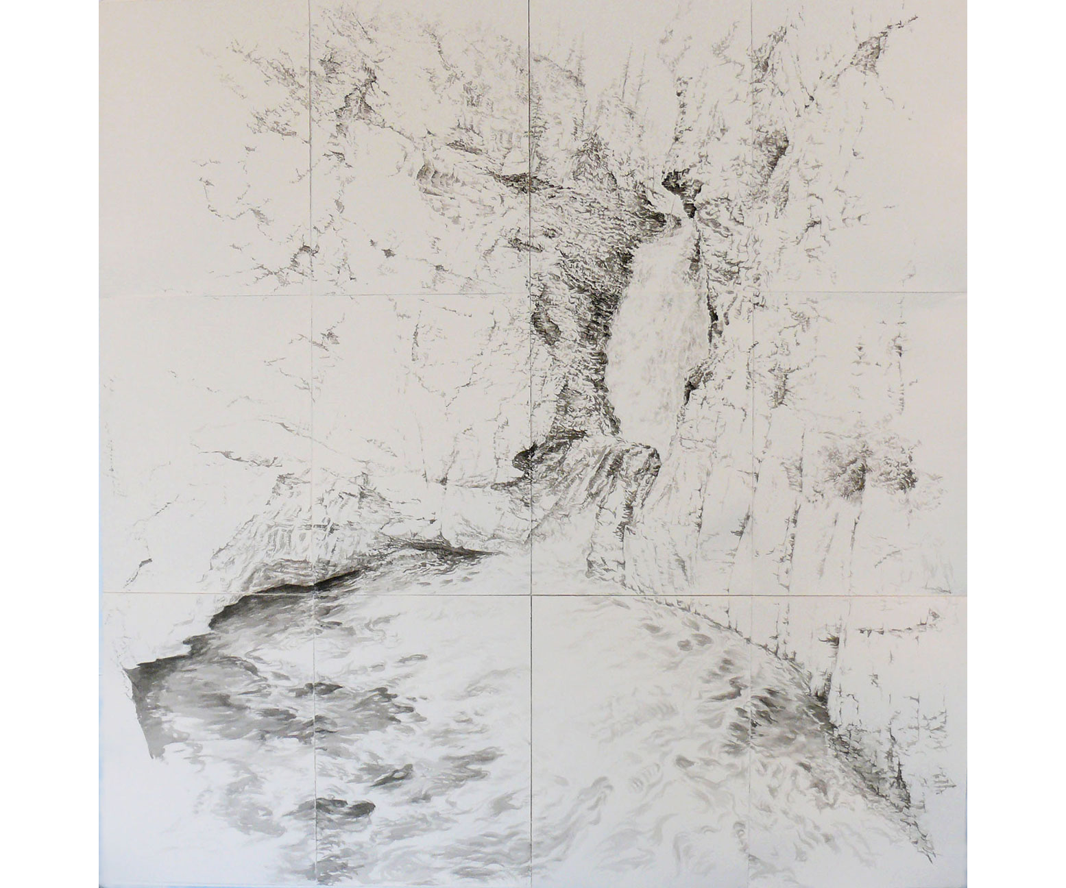 Johnson Canyon Falls, 2003, Sumi ink on paper, 82 x 80