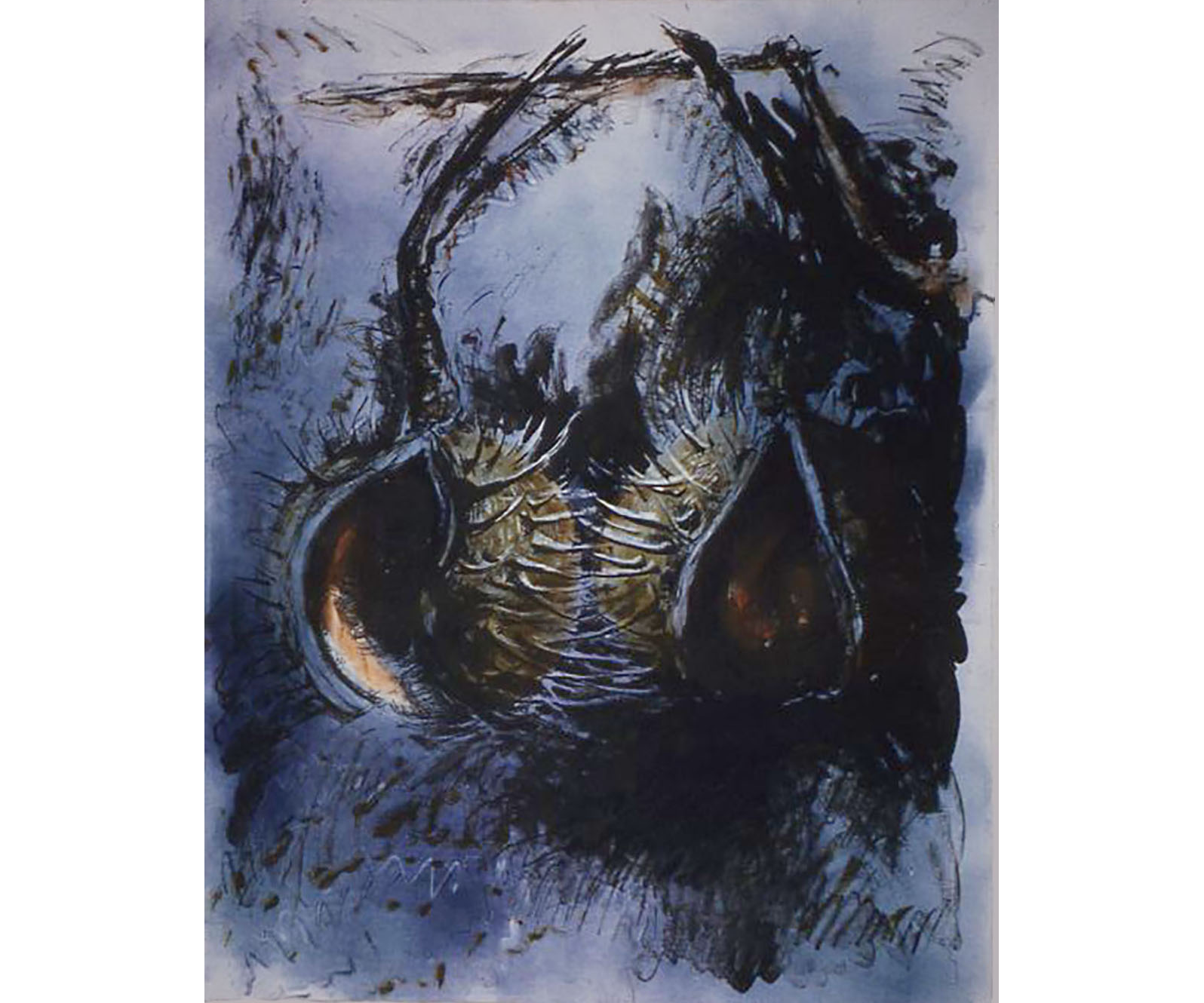 Pair of Horse Chestnuts/Blue, 1998, Lithograph with Monotype, 30 x 22