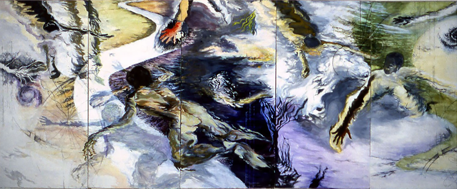 Indra's Net, 2003, Oil and Acrylic on 5 canvas panels, 48 x 120