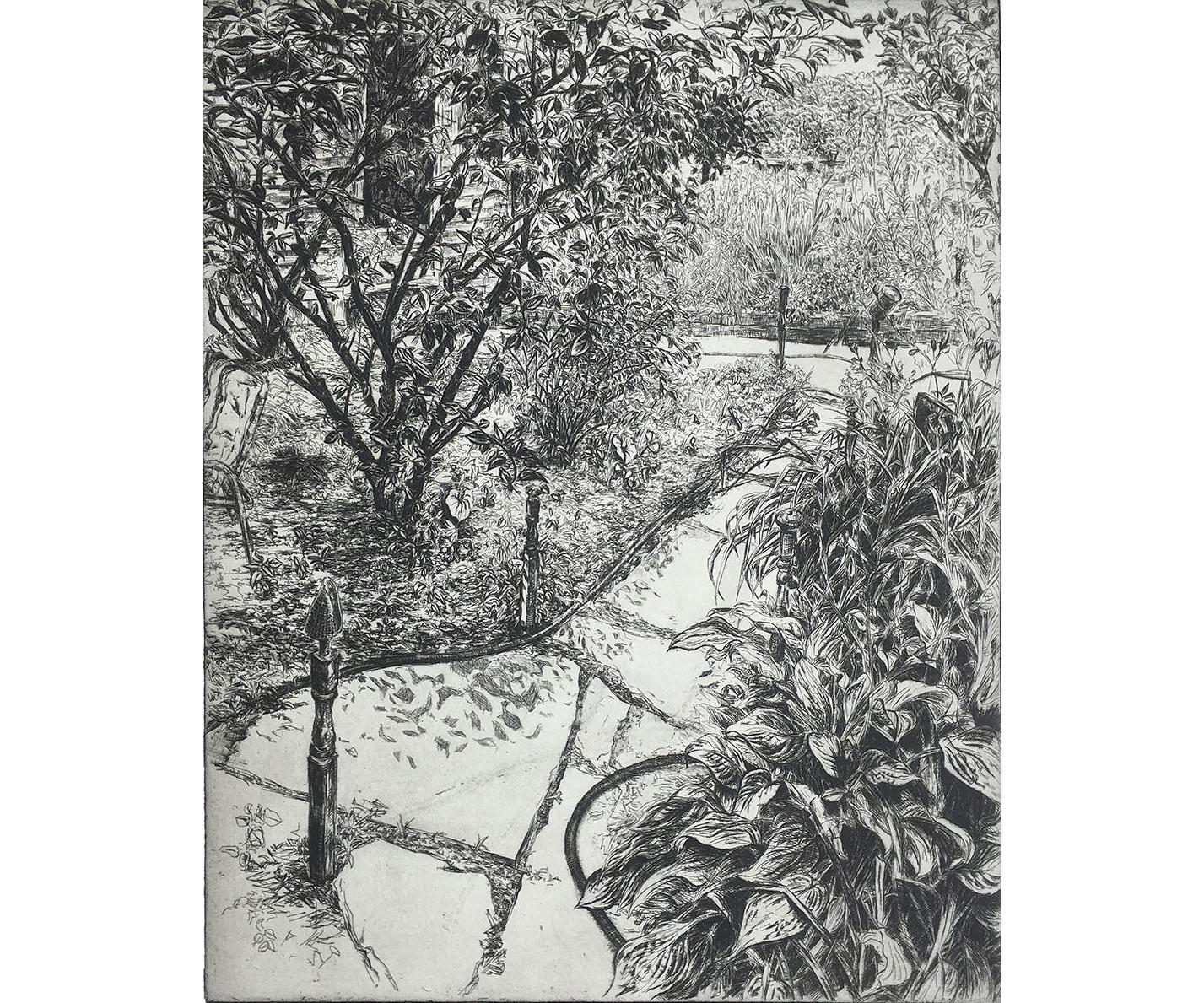 Backyard with Garden Hose, 2002, Etching, 20 x 16