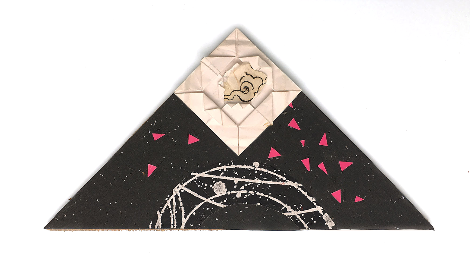 57. Triangle With Pink Triangles, 2015, Papers, 5 ½ x 9