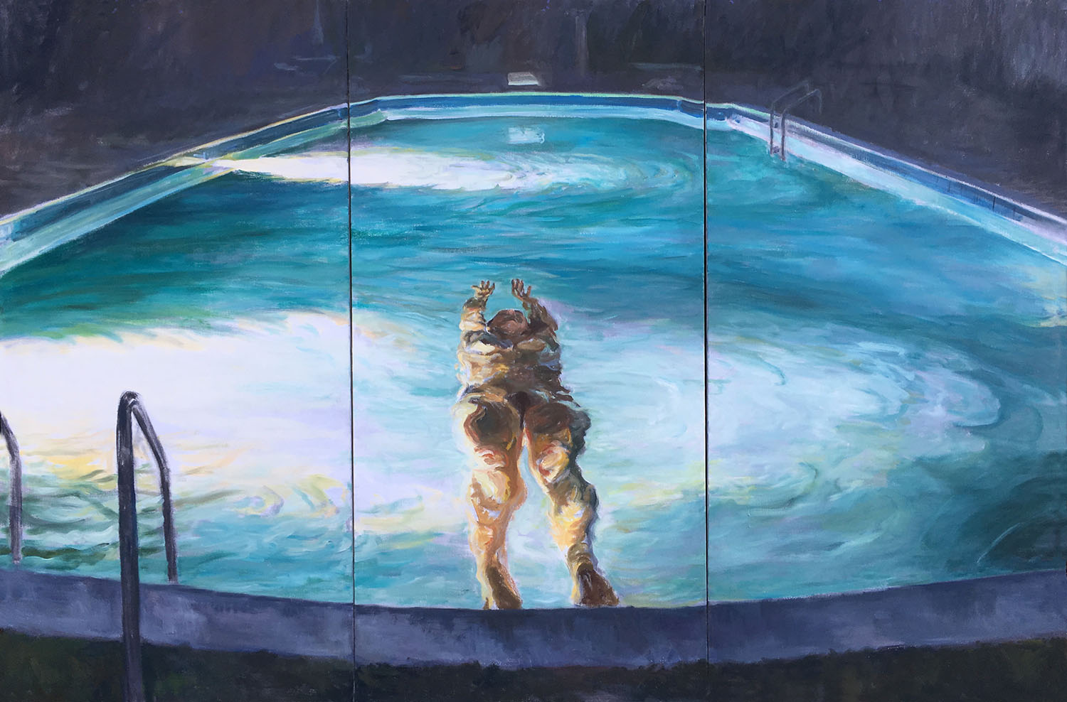 "Floating.,1996. Oil on canvas. 48"" X 72"