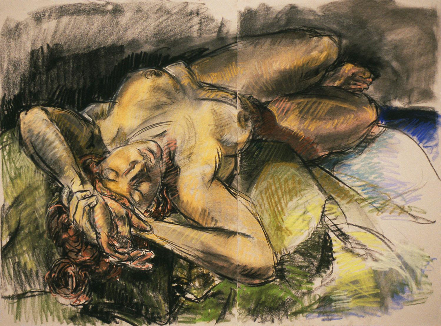 Reclining Figure on Green Pillows