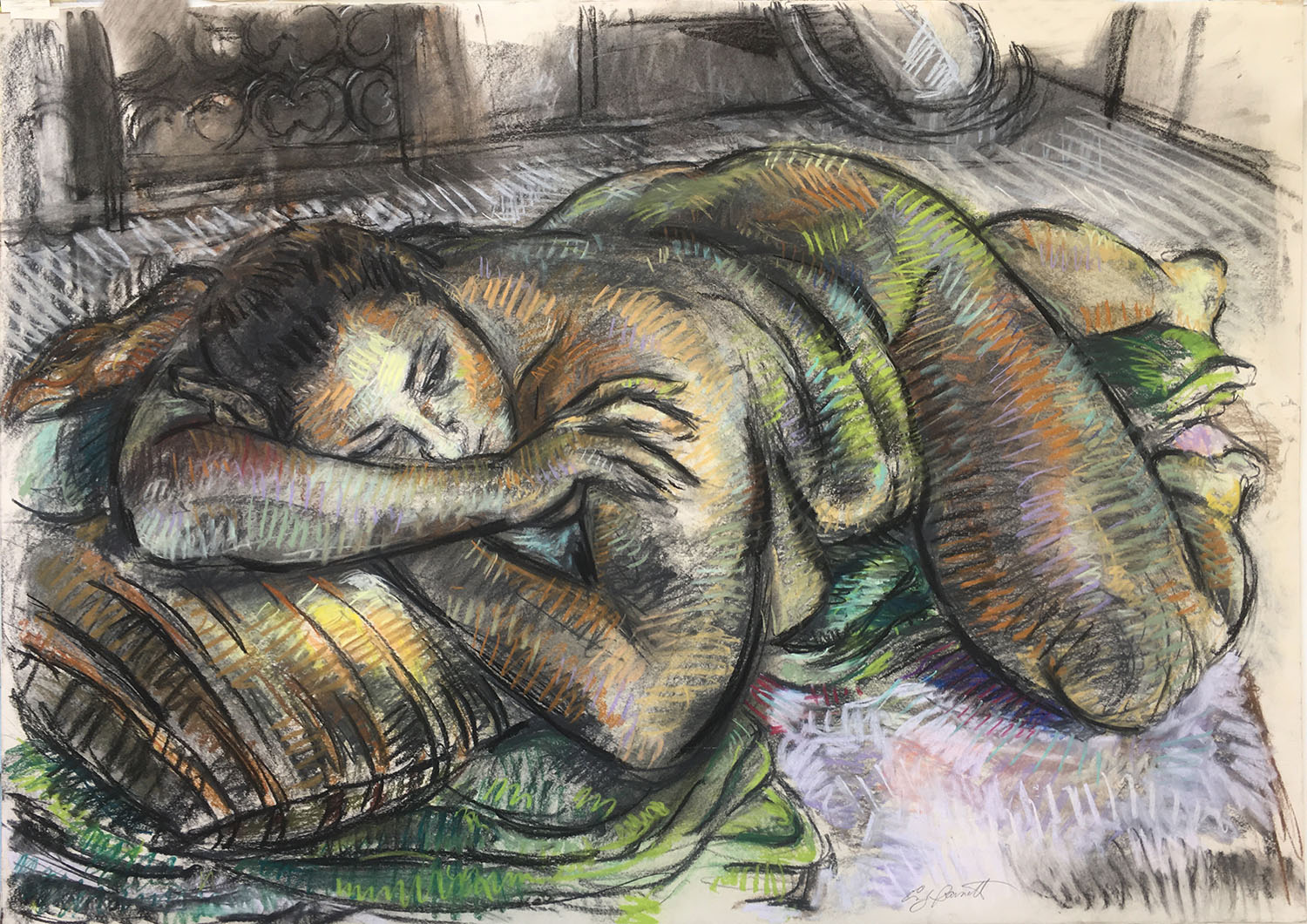 Reclining Figure on Striped Pillow, Charcoal Pastel, 28 X 39