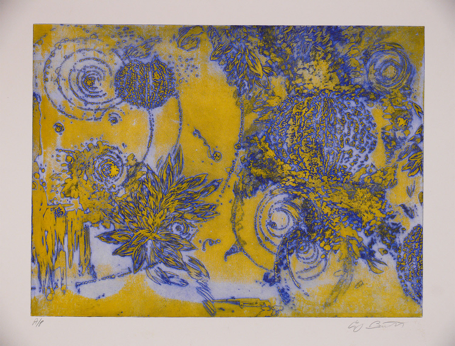 Microcosms, Yellow Blue, 2006, Viscosity Etching, 22 x 30