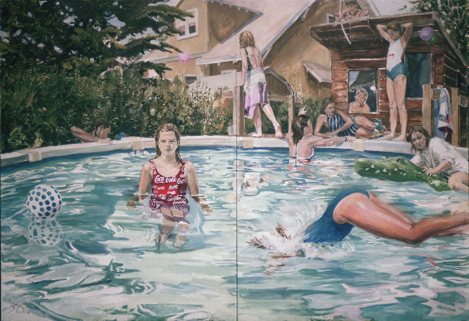The Pool and the Playhouse, 1988, Oil on Canvas, 92 x 132