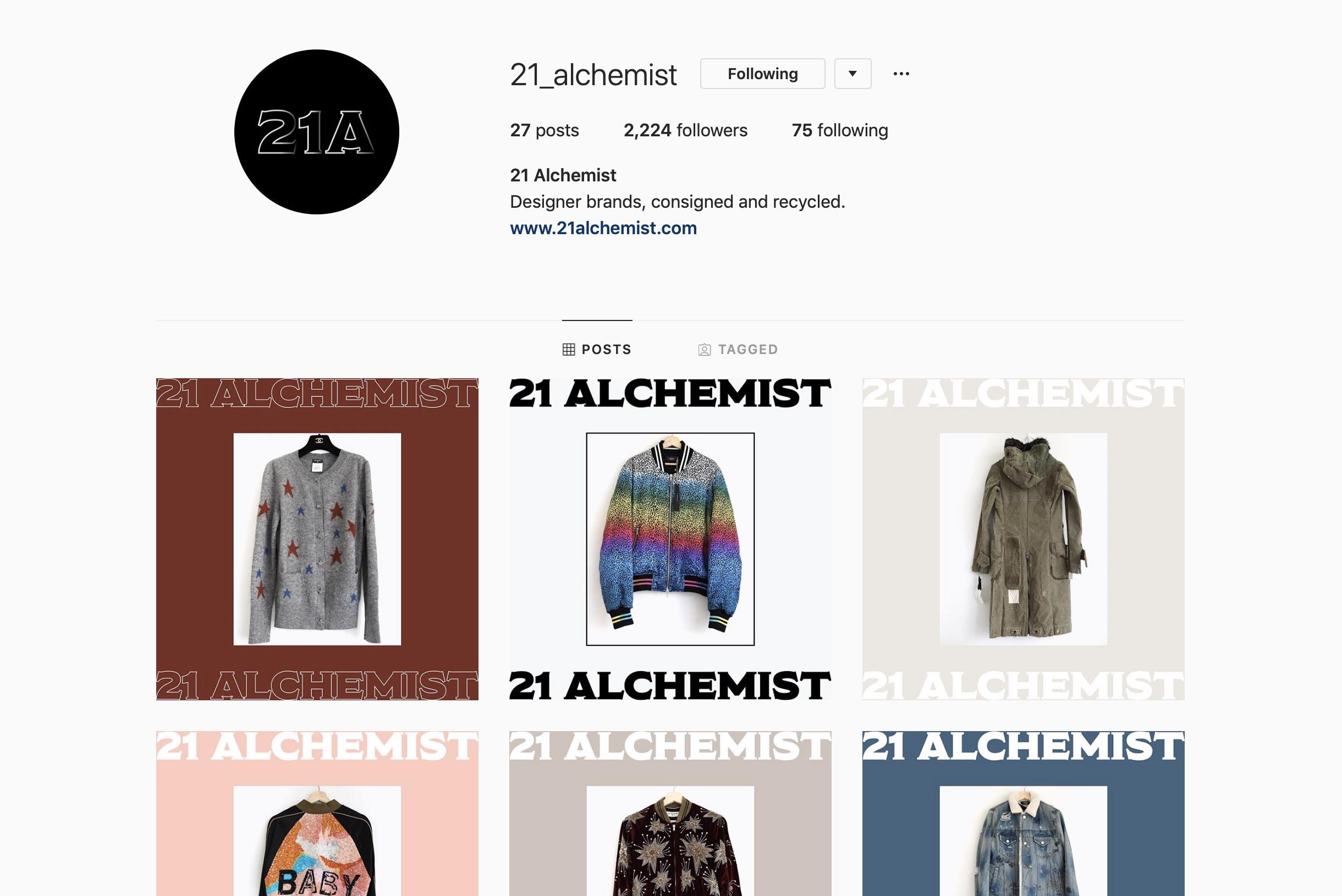21 Alchemist Instagram page.