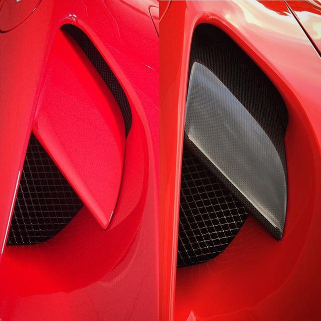 Ferrari 488 side intake splitter before and after #fortiscomposites #carbon #carbonfibre #carbonfiber #ferrari #ferrari488 #supercar #modball #modballrally #team63#shiny #red #fast #car #carsofinstagram #amazingcars247