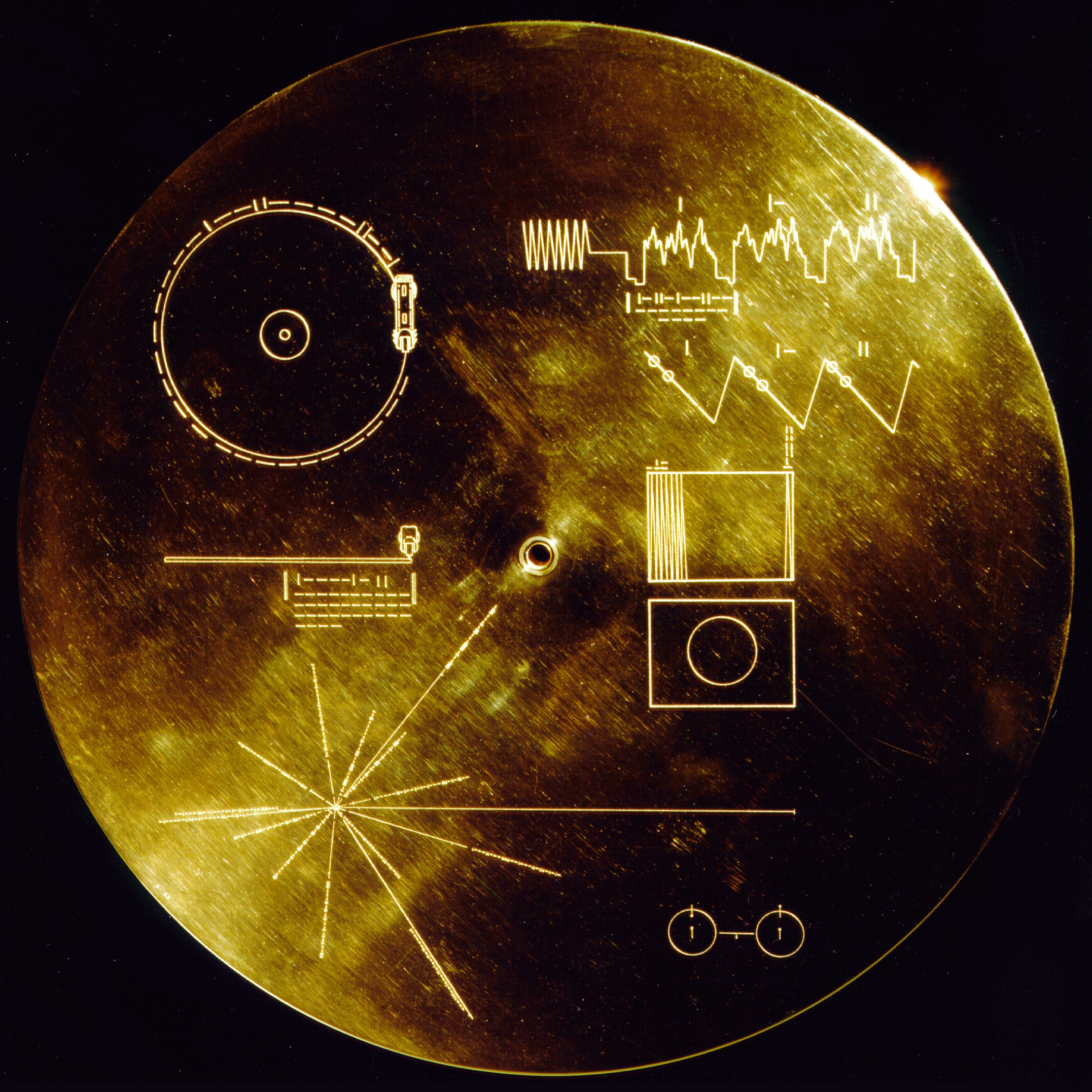The Golden record - Inspiration for the splines based on the etched binary code.