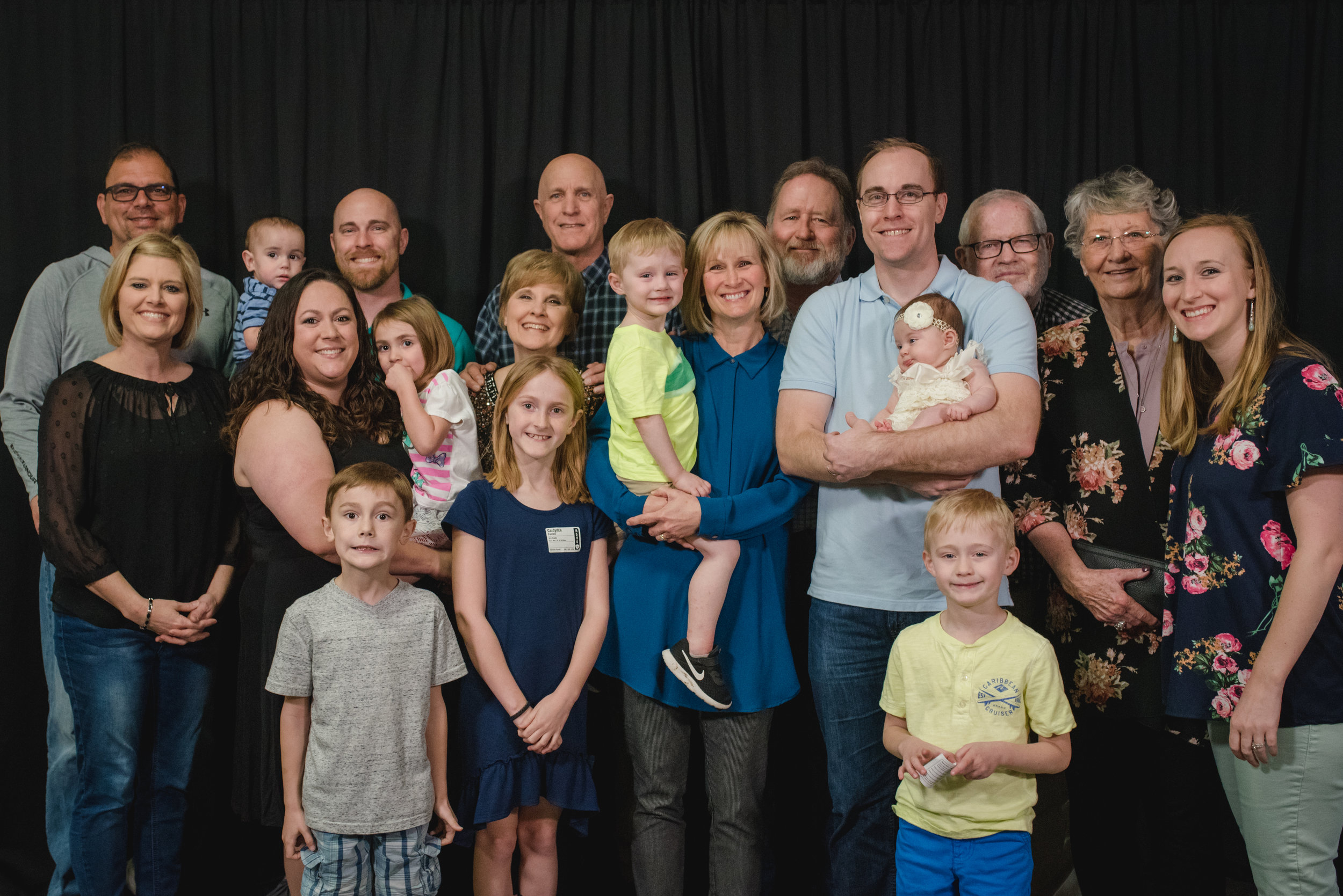 Jacob and Amanda pictured with some of their family and friends