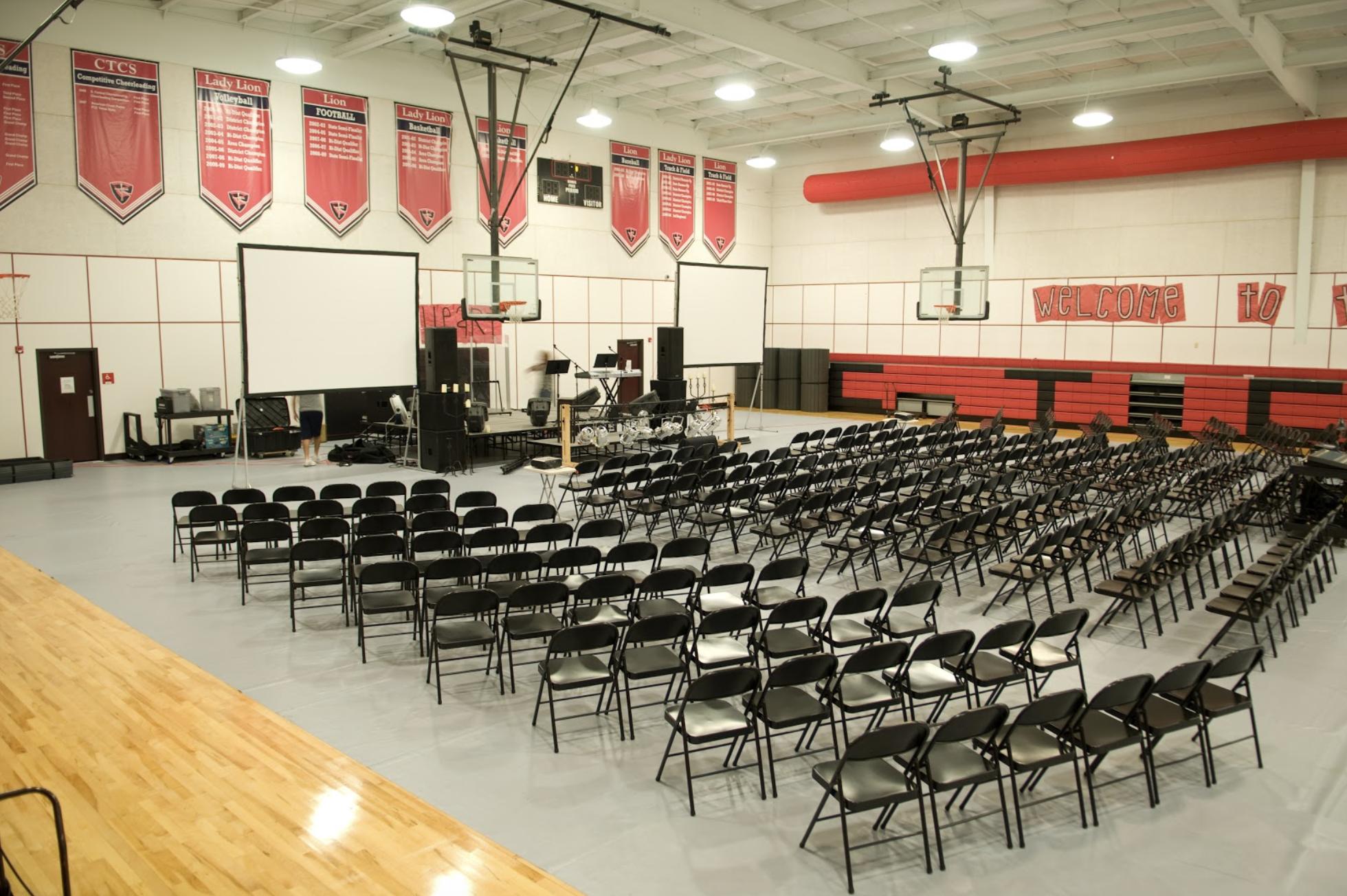 "Vista worship setup in the ""portable church"" days."