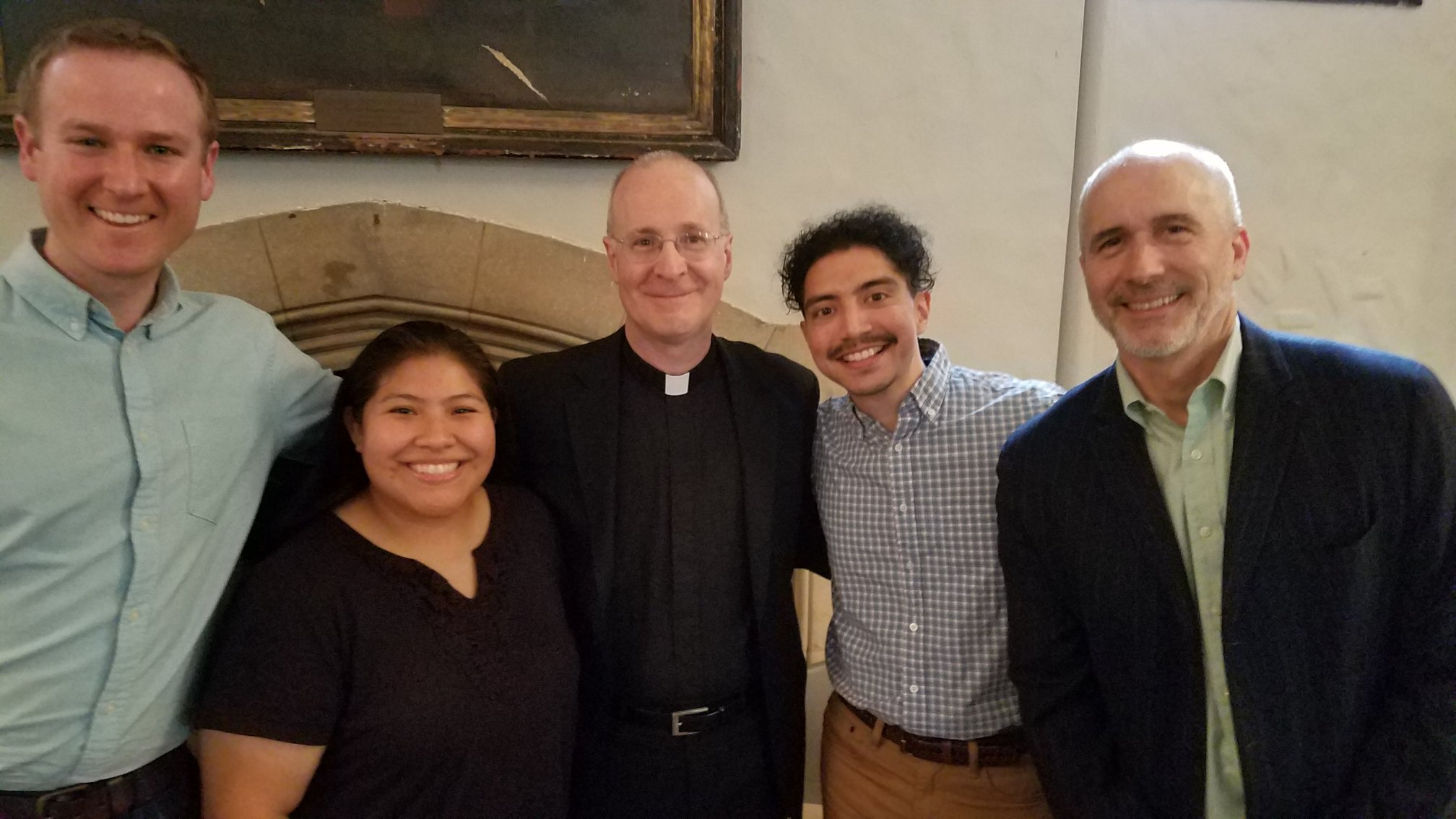 L to R: Jason Steidl, Jessica Tezen, Fr. James Martin, Xorje Olivares, David Gibson