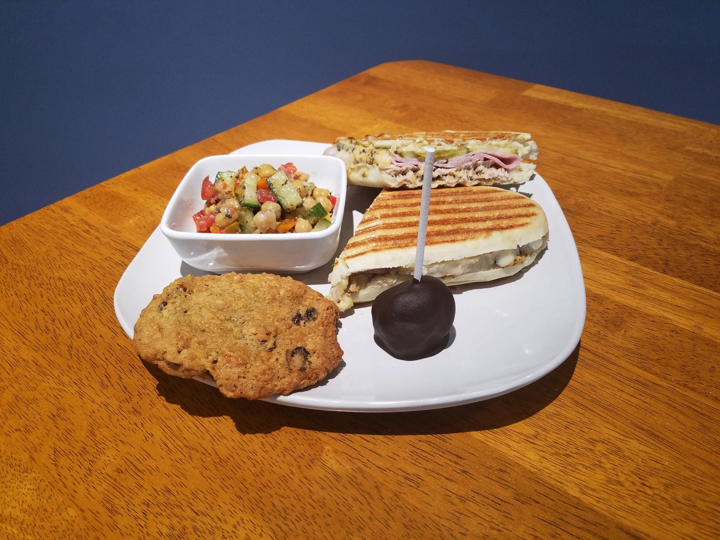 Cuban Sandwich, Deli salad, Cookies, Cheese Cake Pop