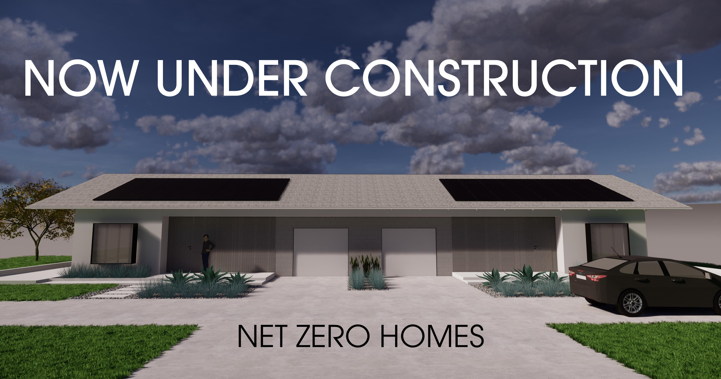 Architectural rendering of completed net zero units.