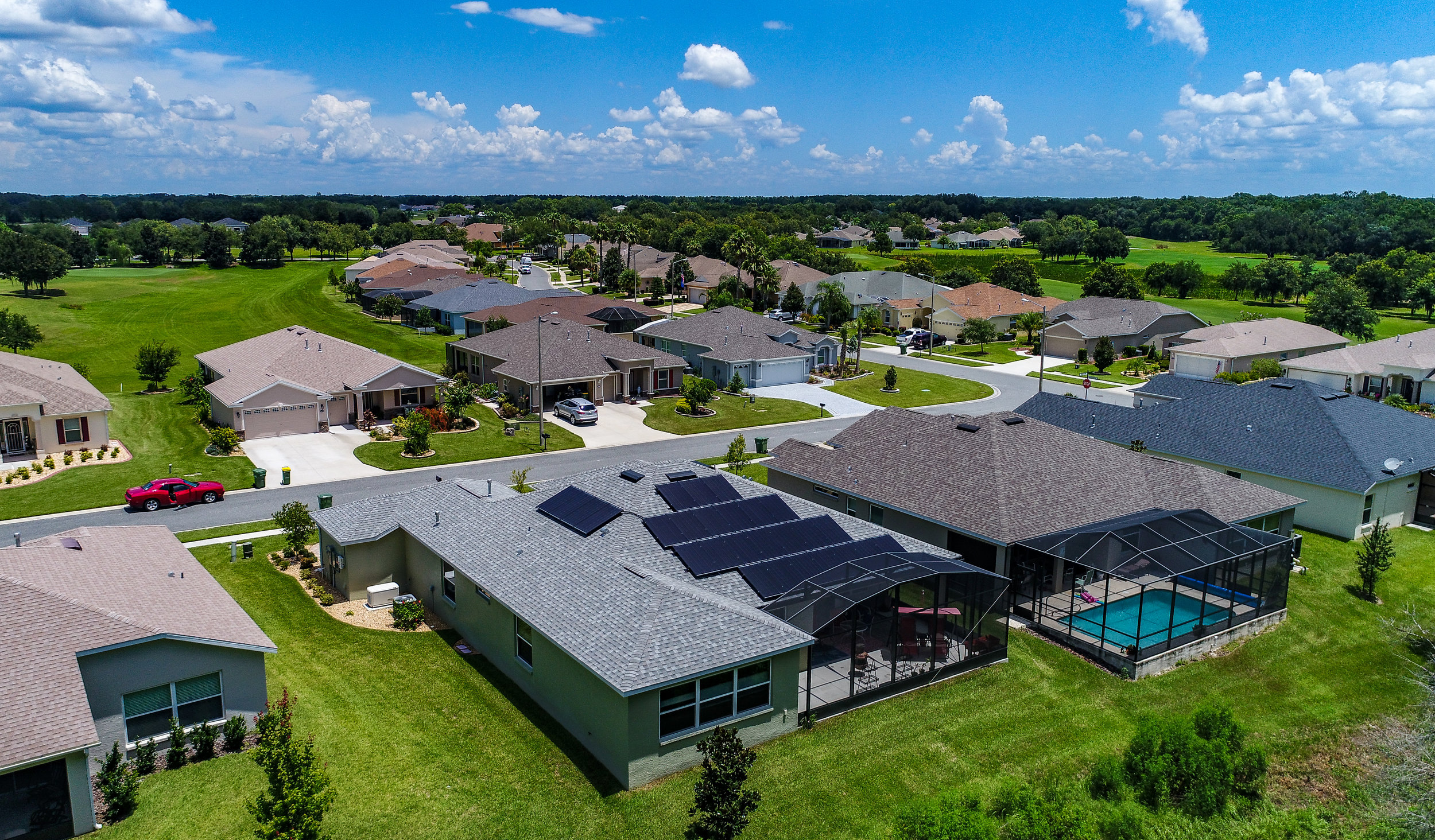 Aerial view of the Arlington Ridge property with new solar panels.