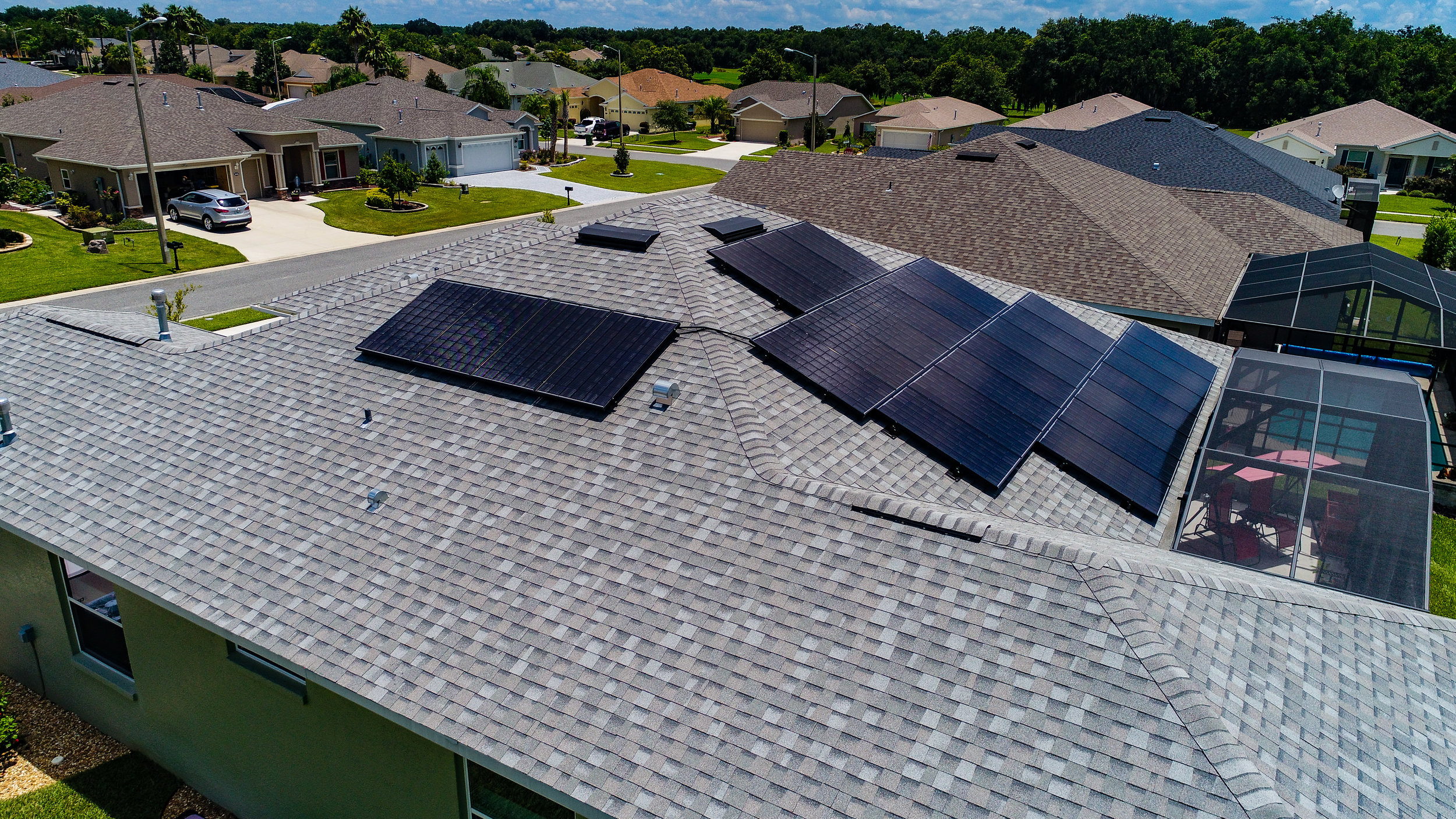 View of rooftop solar PV system